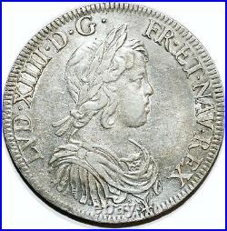 Louis XIV Ecu A La Meche Courte 1644 A Paris Rose Entre 2 Points G. 201