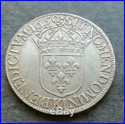 Louis XIV Écu A La Mèche Longue 1650 K Bordeaux 27,25gr