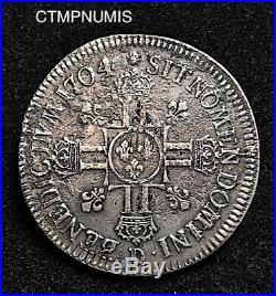Louis XIV Ecu Argent Aux 8 L 2° Type 1704 D Grand Flan