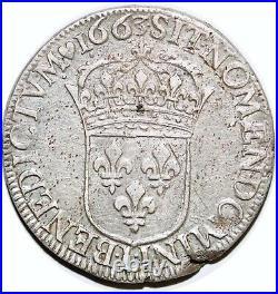 Louis XIV Ecu Au Buste Juvenile 1663 L Bayonne G. 205