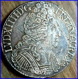 Louis XIV Ecu Aux 3 Couronnes 1713 X Amiens ttb++ argent