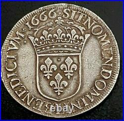 Louis XIV Ecu Buste Juvenile 1666 Batinne