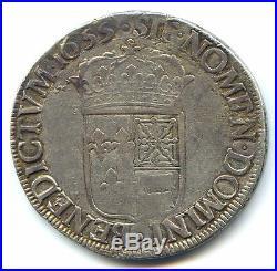 Louis XIV Ecu De Bearn 1655 Morlaas Tres Rare