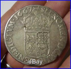 Louis XIV Ecu De Bearn Au Buste Juvenile 1667 Pau. Rare