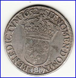 Louis XIV Ecu Meche Longue 1652 B = Rouen