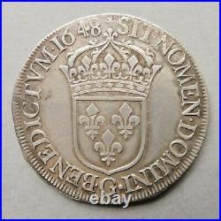 Louis XIV Ecu à la Mèche longue 1648 G Poitiers