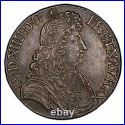 Louis XIV Ecu à la cravate 1680 Rennes Splendide exemplaire
