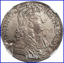 Louis XIV Ecu à la cravate 1682 L Bayonne Superbe NGC AU58 rare