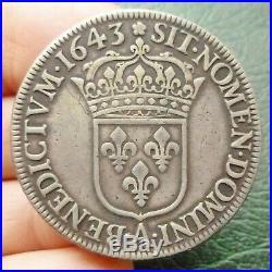 Louis XIV Ecu à la mèche courte 1643 A Paris (Rose)