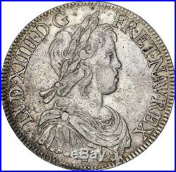 Louis XIV Ecu à la mèche courte 1644 A Paris! Très bel exemplaire