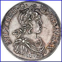 Louis XIV Ecu à la mèche courte 1644 Paris Superbe