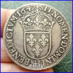 Louis XIV Ecu à la mèche longue 1647 H La Rochelle