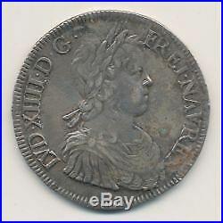 Louis XIV Écu à la mèche longue 1647 H La Rochelle