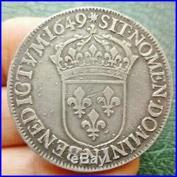 Louis XIV Ecu à la mèche longue 1649 N Montpellier