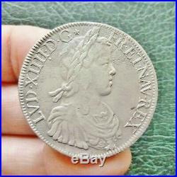 Louis XIV Ecu à la mèche longue 1651 A Paris Etoile après DG à l'avers