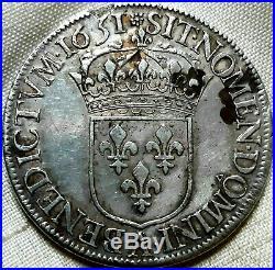 Louis XIV Écu à la mèche longue 1651 a