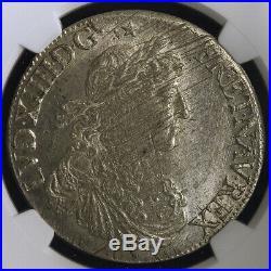 Louis XIV Ecu au buste Juvénile 1664 Rennes rare NGC MS62 Brillant de frappe SUP