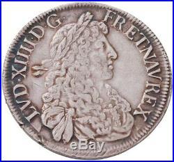 Louis XIV Ecu au buste Juvénile 1667 Aix rare Superbe
