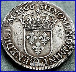 Louis XIV Écu au buste juvénile 1666 L Bayonne ttb+ argent