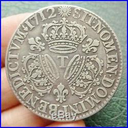 Louis XIV Ecu aux 3 Couronnes 1712 T Nantes