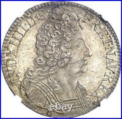 Louis XIV Ecu aux 3 couronnes 1714 Rennes très rare Splendide NGC MS61
