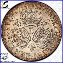 Louis XIV Ecu aux 3 couronnes 1715 D Lyon très rare PCGS AU58 Meilleur grade