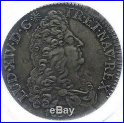Louis XIV Ecu aux 8 L 1691 P Dijon Flan neuf très rare Superbe PCGS AU53