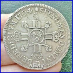 Louis XIV Ecu aux 8 L 2e Type 1704 D Lyon (réf)