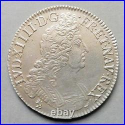 Louis XIV Ecu aux 8 L 2e Type 1704 Rennes Flan neuf