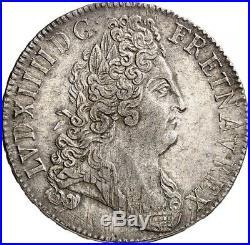 Louis XIV Ecu aux 8 L 2ème type tête laurée 1704 Paris rarissime Superbe