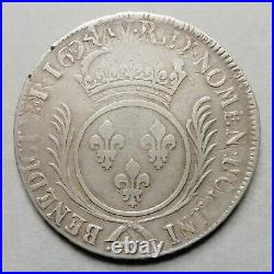 Louis XIV Ecu aux Palmes 1694 W Lille (réf)