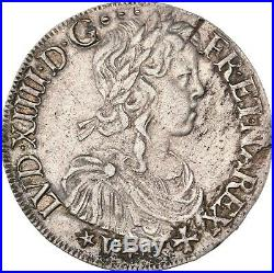 Louis XIV Ecu de Navarre à la mèche longue 1657 Saint-Palais Superbe très rare