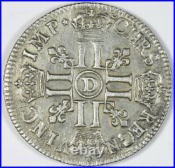 Louis XIV Ecu huit L flan réformé 1691 D Lyon
