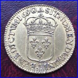 Louis XIV Louis d'or à l'écu 1690 A Paris Superbe