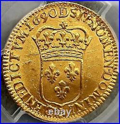 Louis XIV Louis d'or à l'écu 1690 D Lyon UNC