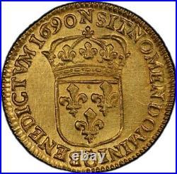 Louis XIV Louis d'or à l'écu 1690 Montpellier Flan Neuf Splendide rare