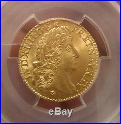 Louis XIV Louis d'or à l'écu PCGS MS65 Fleur de coin exceptionnel état Flan neuf