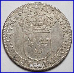 Louis XIV Quart D'ecu A La Meche Courte 1644a Rose