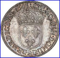 Louis XIV Quart d'écu à la mèche courte 1643 Paris Splendide