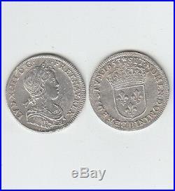 Louis XIV Quart d' écu à la mèche longue en argent 1653 Rouen Jolie qualité