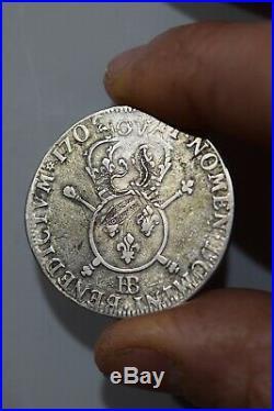 Louis XIV Tres Beau 1/2 Ecu 34 Sols / 6 Deniers De Strasbourg BB aux Insignes