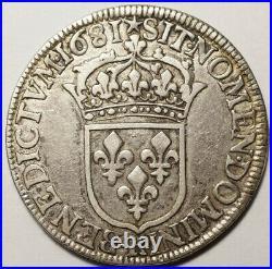 Louis XIV Tres Rare Demi Ecu A La Cravate 1681k Bordeaux