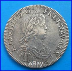 Louis XIV demi 1/2 écu à la mèche courte 1645 A rose