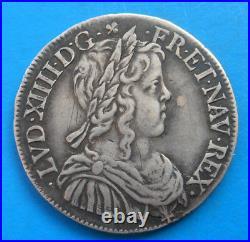 Louis XIV demi 1/2 écu à la mèche longue 1647 N MONTPELLIER