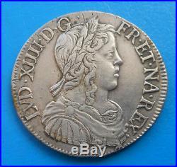 Louis XIV demi 1/2 écu à la mèche longue, 1650 H LA ROCHELLE, JOLI