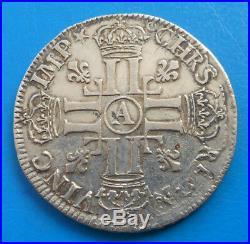 Louis XIV demi 1/2 écu aux 8 L, 1er type, 1691 A PARIS