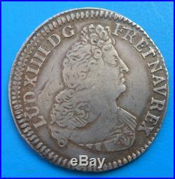 Louis XIV demi 1/2 écu aux 8 L, 2ème type, 1704 P DIJON