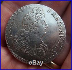 Louis XIV demi 1/2 écu aux 8 L en argent 1704 atelier A réformé ref195