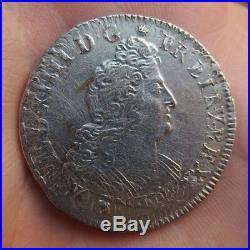 Louis XIV demi 1/2 écu aux 8 L en argent 1704 atelier D réformé ref194