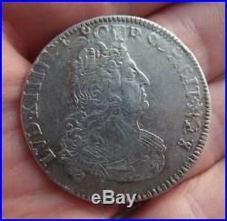 Louis XIV demi 1/2 écu aux 8 L en argent 1704 atelier effacé réformé ref193